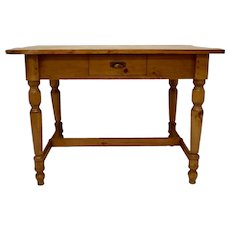 Pine and Beech Stretcher Base Writing Table