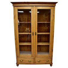 Pine Two Door Glazed Cupboard or Vitrine