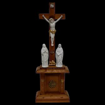 Pine and Ceramic Devotional Altarpiece