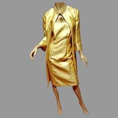 Vtg 1950's Couture Opera Silk Shantung Embellished Ensemble Coat & dress All Lined