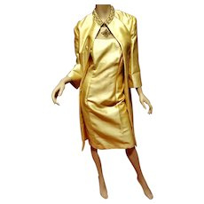 Vtg 1950's Couture Opera Silk Shantung Embellished Ensemble Coat & dress All Lined