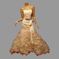 LAZARO Couture Organza Petal Bridal Gown silk Pleated sweetheart Bodice Fabulous