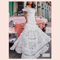 Off the shoulder Falbala Spanish Fiesta Hollow lace Maxi dress
