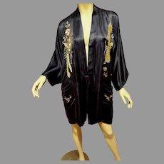 Vtg Silk Chinese Kimono Circa 1950's gold hand embroidery Dragons/belt