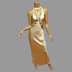 Vtg Emanuel Ungaro Paris. Couture  silk 90's Doing 30's Hollywood Glamour bias gown Crystal Embellished.