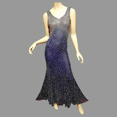 Vtg Silk Layering fully tiny silver beaded Column maxi Fishtail gown in blue