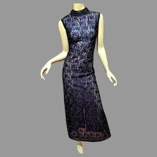 French Lace fully Onyx Embroidered Column  Layering Gown Circa 1940's metal Zipper