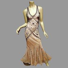 Vtg Lavender/Pink hand beaded & Embroidered Bias gown cross over open back Fluid Fishtail bottom