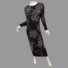 Vtg Cashmere/wool knitted Column maxi dress Copper/Gun metal bugle hand embroidered beads