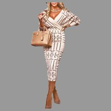 Vtg Print Bodycon Long Sleeve Elegant Midi Dress