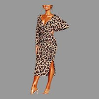 Vtg Animal Print  BodyCon Pencil Elegant midi dress long Sleeve