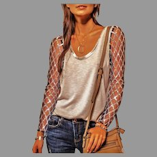 Vtg Solid Sequin Harlequin design Long sleeve round neck Top/Blouse Khaki color black tulle