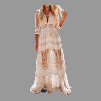 Vtg Lace/Solid A-Line Skater Elegant Maxi dress V-Neck 3/4 Sleeve