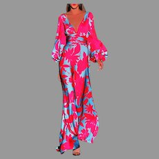 Vtg Floral Maxi Sheath Elegant dress Lantern Sleeves