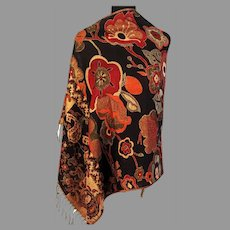 Vtg Classic Pashmina Shawl Scarf Floral Paisley Design Reversible  Warm Colors