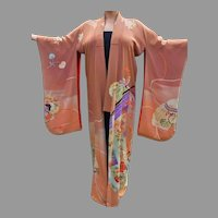 Vtg Japanese silk Embroidered Kimono robe Circa 1940's