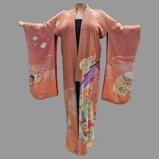 Vtg Japanese silk Embroidered Kimono robe Circa 1940's