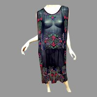 Antique 1900's Museum Tabard Layering Heavily glass Steel cut Beaded dress silk chiffon Egyptian Revival