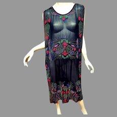 Antique 1900's Museum Tabard Layering Heavily glass Steel cut Beaded dress silk chiffon Egyptian Revival