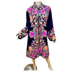 Vtg Purple Embroidered woolen Kashmiri Coat on Black background