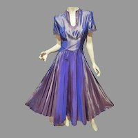 Vtg 1940's Antique Lavender Taffeta gown Embellished
