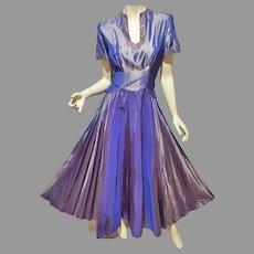Vtg 1940's Antique Lavender Taffeta gown Embellished