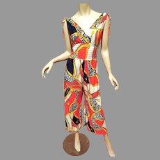 Vtg 1970's wide leg printed Jumpsuit silk jersey blend