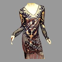 Vtg 80's doing 20's Unique Vintage heavy embellished fringed flapper dress size L