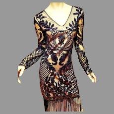 Vtg 80's doing 20's Unique Vintage heavy embellished fringed flapper dress size L