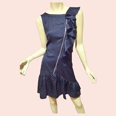 Vtg Marc Jacobs Zipper ruffle mini dress Ton Sur Ton shark print