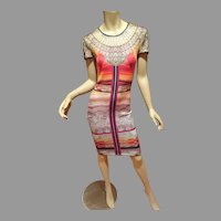 Egyptian Revival Printed dress Body con size Large