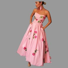 Vtg Bandeau Ballet Pink Rose floral Midi dress full sweep Bohemia Strapless