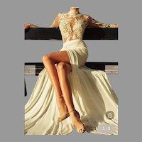 Vtg Crochet Carving Embroidery Long sleeve Maxi dress Semi wrap High neck