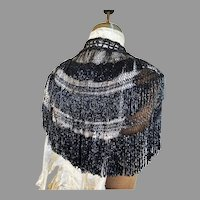Antique Victorian all Onyx Jet hand beaded Cape Fish net Design