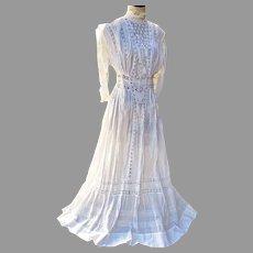 Antique Edwardian Tea dress Clover Lace High Neck