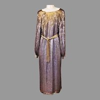 Vtg Pure silk Silver Sequins Beaded long sleeve belted dress