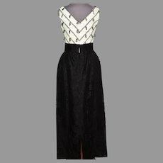 Vtg Black & off White Lace dress W/Tassels Taffeta Sash Rhinestone Belt