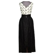 Vtg Black & off White Lace dress W/Tassels Taffeta Sash Rhinestone Belt