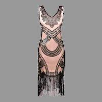 Vtg  Flapper dress 1980's doing 1920's  Great Gatsby Art Nouveau w/ Fringes
