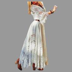 Vtg Lace/Solid A-Line Elegant Skater Maxi dress Flare Sleeves  Cotton Blend