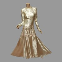Vtg 1940's Liquid Peau de Soie Maxi Gown with train metal zipper Pipping