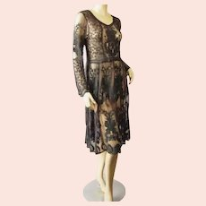 Vtg Embroidered sheer Goth dress Victorian look Tea Length