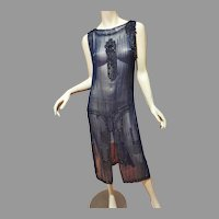 Antique Museum 1910 beaded Tabard Flapper dress navy/black onyx