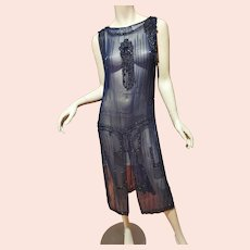 Antique Museum 1910 beaded Tabard Flapper dress navy/black onyx