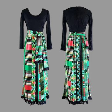 Vtg 70s Maxi dress by Miss Eileen Boho chic Hostess dress Ethnic print