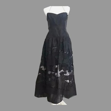 Vtg Paul Louis Orrier French Couture Silk Sequin /Beads evening Gown See Through Design on skirt
