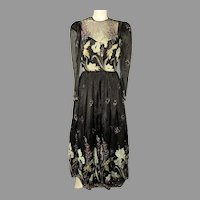 Vtg Rose Taft Couture maxi Gown Sous Tache floral embroidery & rhinestone