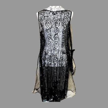 French Antique 1920 Flapper Tabard dress Lace Sequins Beads & Tulle