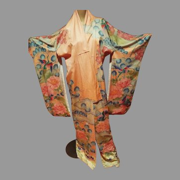 Japanese Kimono Hand Painted & Embroidered with gold threads /Sash