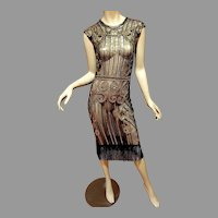 Vtg Layering 70's doing 20's  Deco look dress Gold sequins /Fringe Gatsby